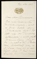Letter to Mrs. Blackmore