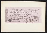 Cheque to the order of H. [Henry] T. [Treffrey] Dunn for 50 pounds