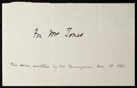 """Fragment: Writing sample, """"For Mr. Jones"""""""