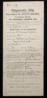 Diagnostic intake slip from the practice of Professor G. Keith-Harvey, completed in W. M. Rossetti's hand