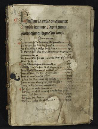 Campront (de) family papers, La Manche, 1268-1438. Transcript of legal instruments.